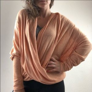 Free people peach faux wrap blouse size small